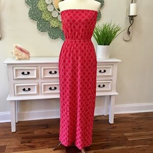 Lucky Brand Red & White Maxi Dress
